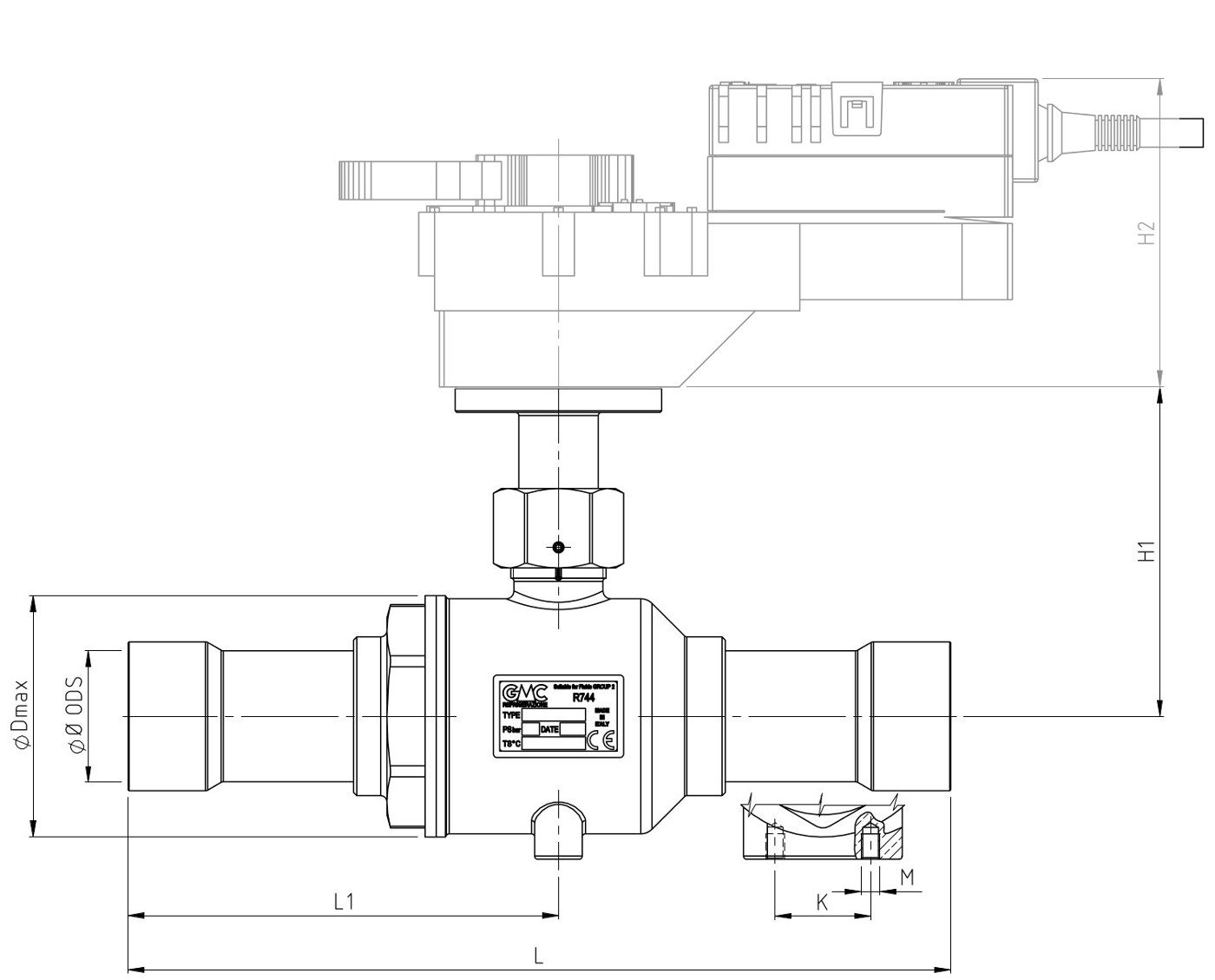 kugelventile k65 f r motor de abr components industrial refrigeration technology. Black Bedroom Furniture Sets. Home Design Ideas
